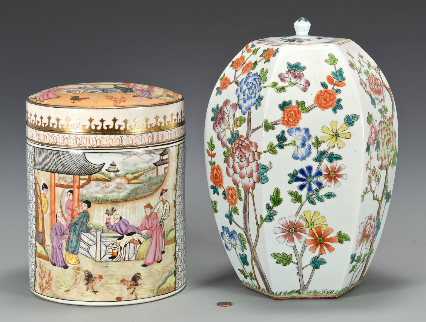Lot 3832419: Famille Rose Canister w/ Roosters & Hexagonal Jar