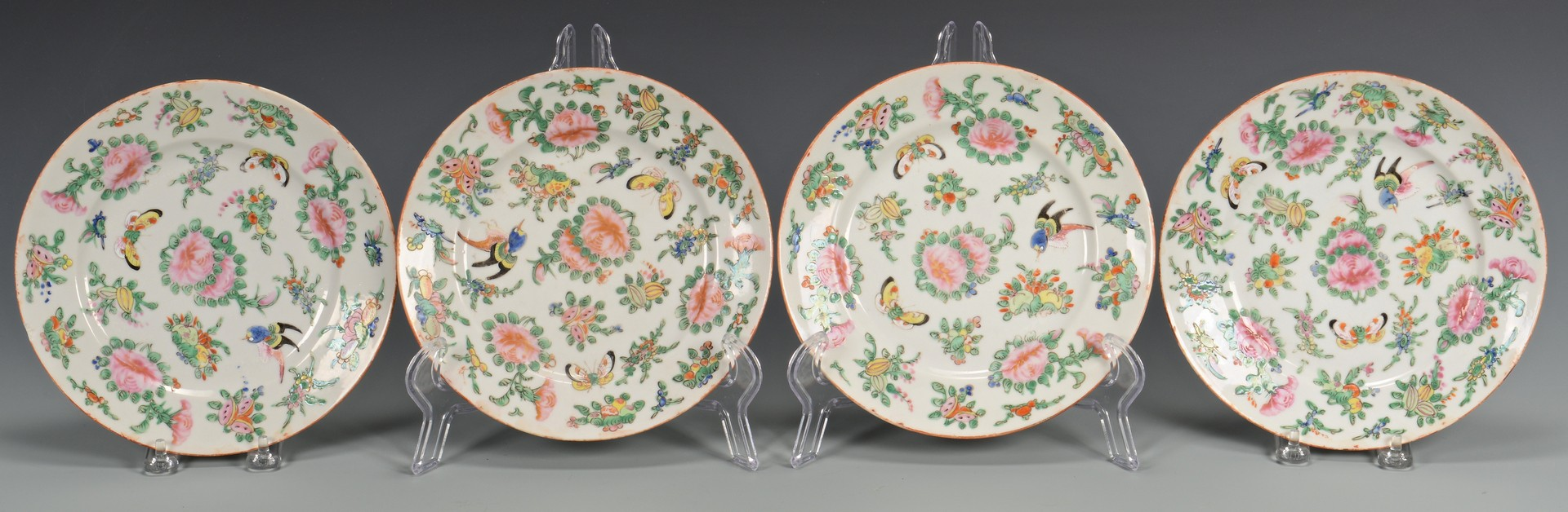 Lot 3832421: 8 Famille Rose Butterfly Plates & 3 Mugs