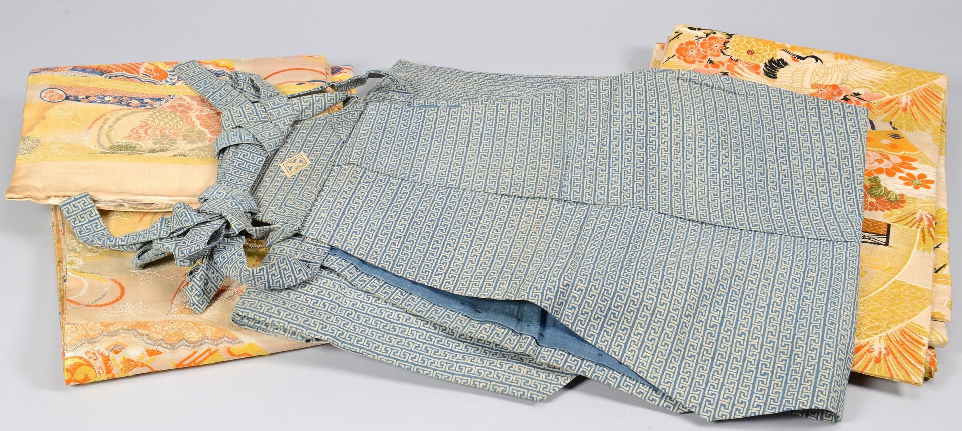 Lot 3832427: Japanese Samurai Kami-shimo Costume & 2 Obi Textiles