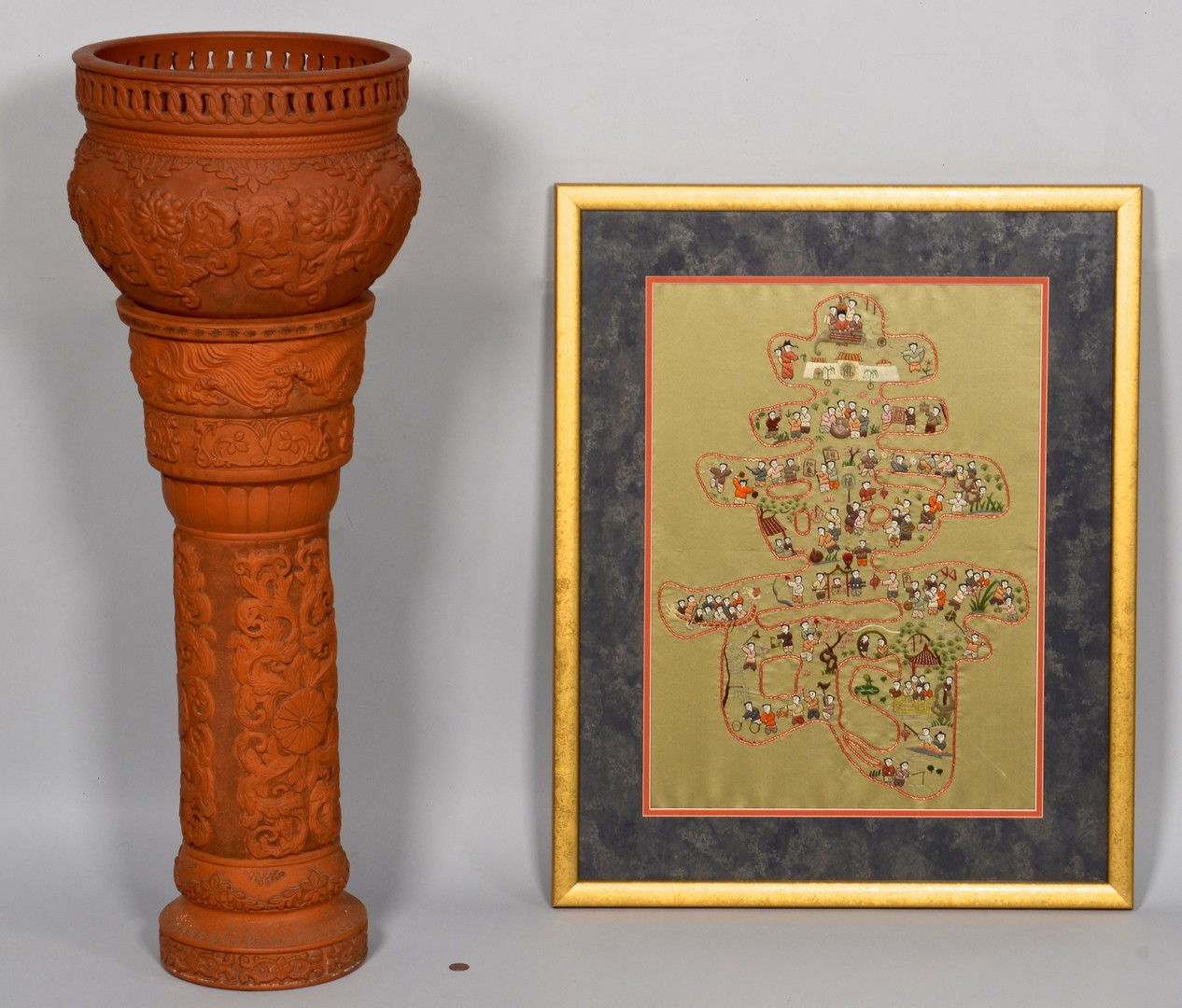 Lot 3832429: Chinese Yixing Plant Stand & Embroidery
