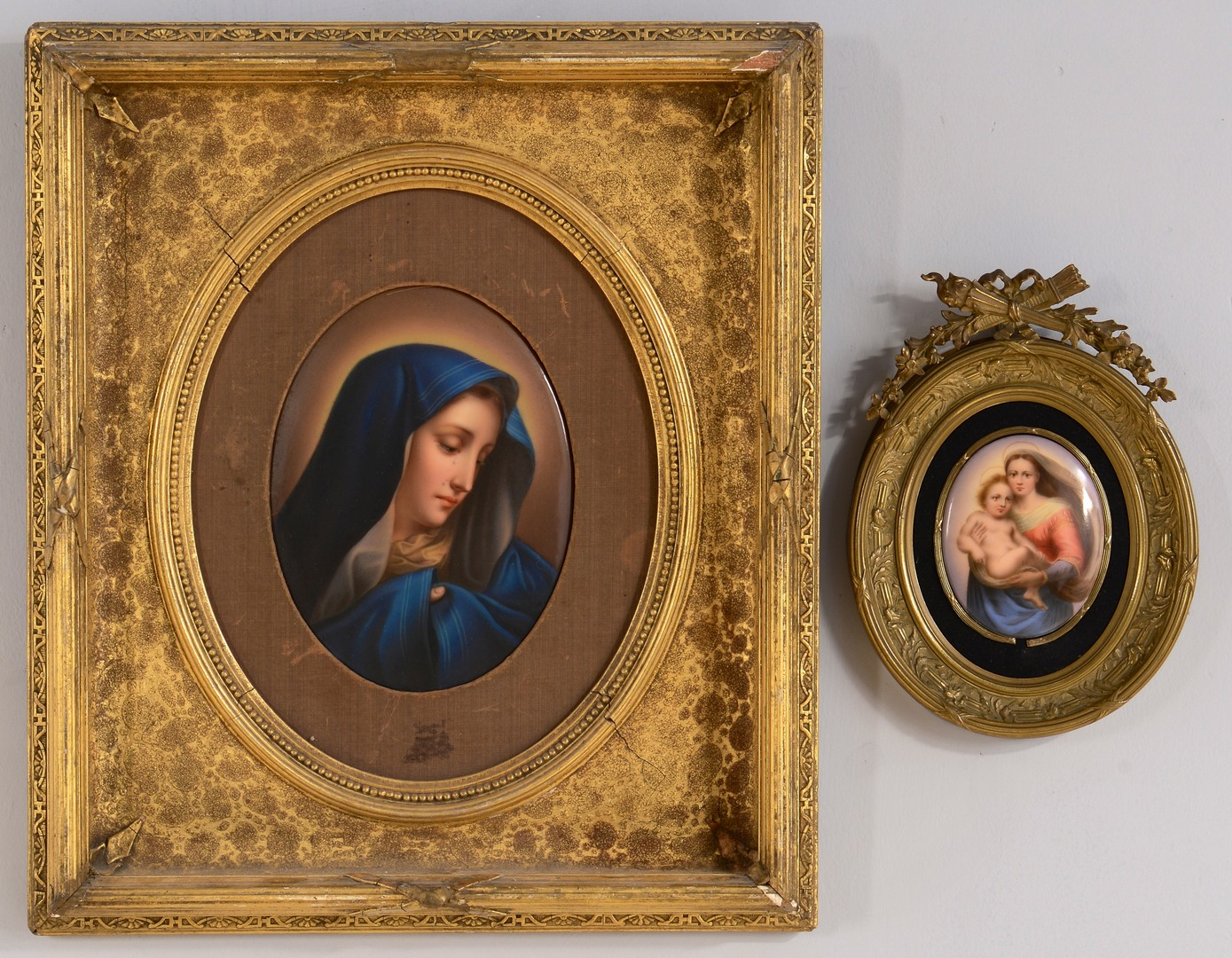 Lot 3832436: 2 Framed Porcelain Madonna Plaques