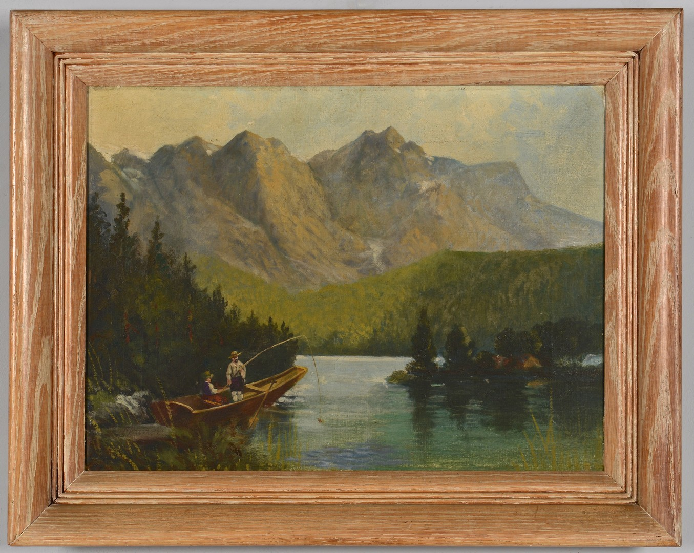 Lot 3832444: O/C Mountain Lakeview w/ Fishermen, Signed Baders