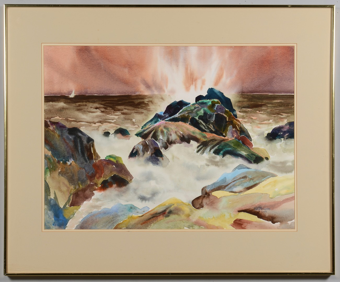 Lot 3832447: Guy Lipscomb Seascape Watercolor