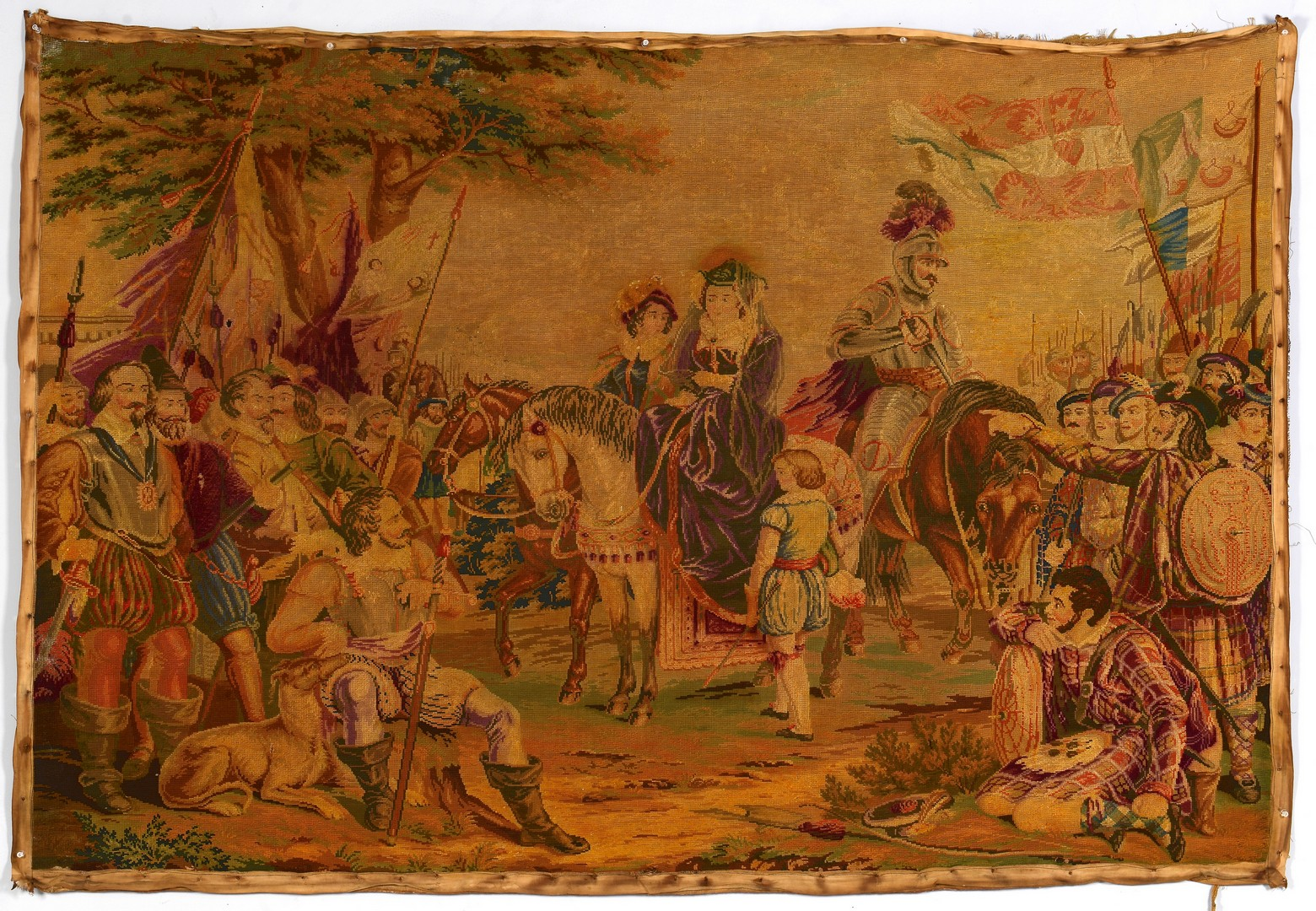 Lot 3832459: 19th c. Embroidered Tapestry, Medieval Scene