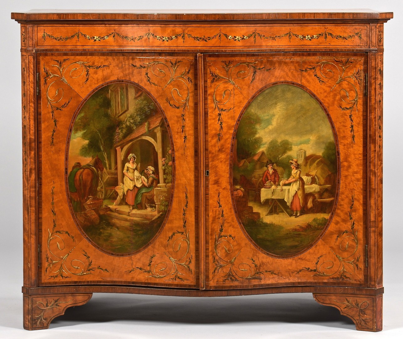 Lot 100: Edwardian Painted Satinwood Cabinet