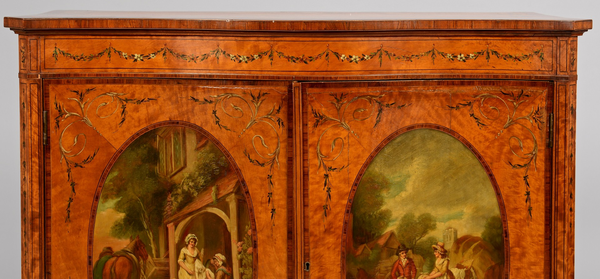 Lot 100: Edwardian Painted Satinwood Cabinet