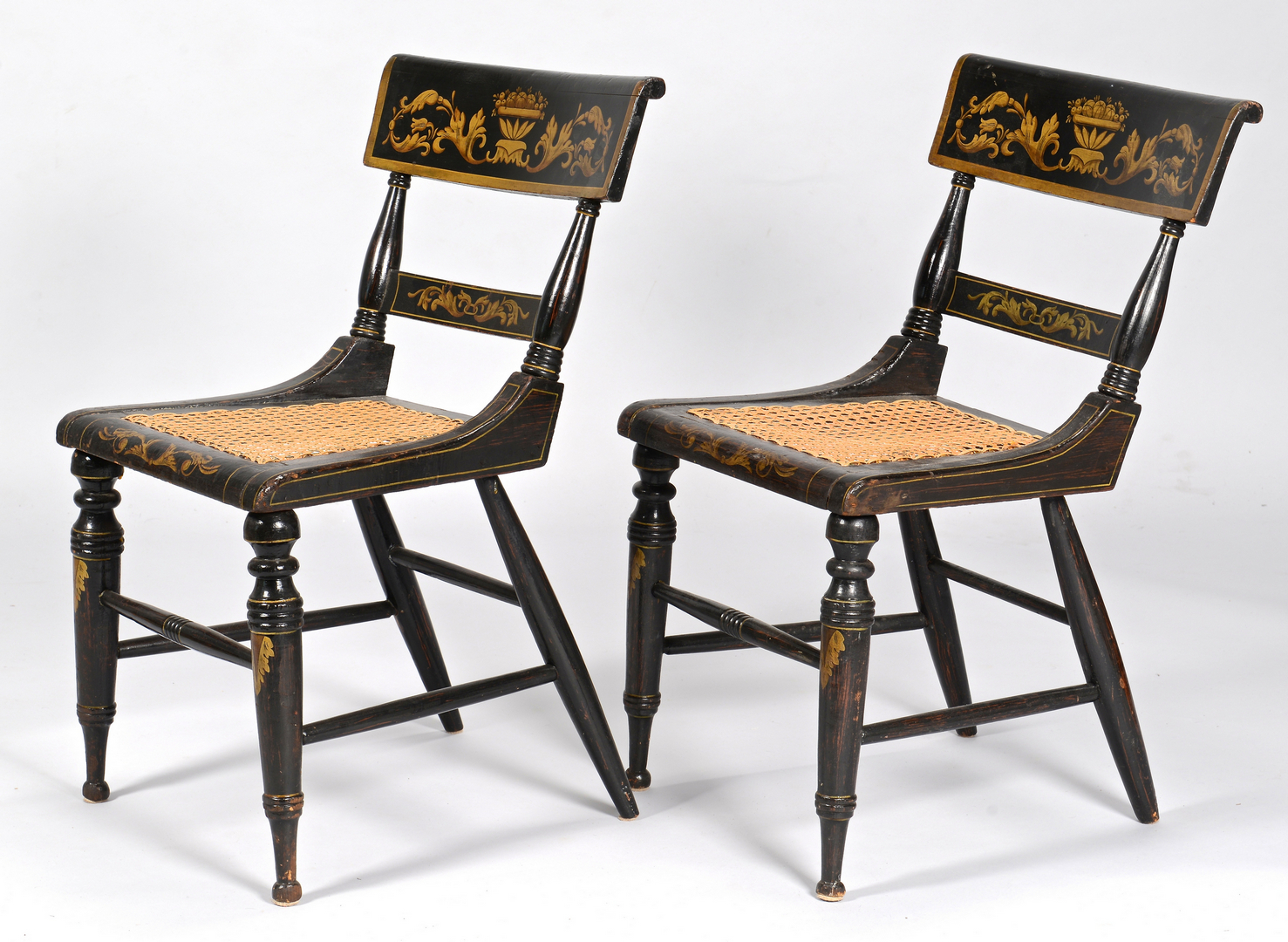 lot 103 pair baltimore painted classical side chairs