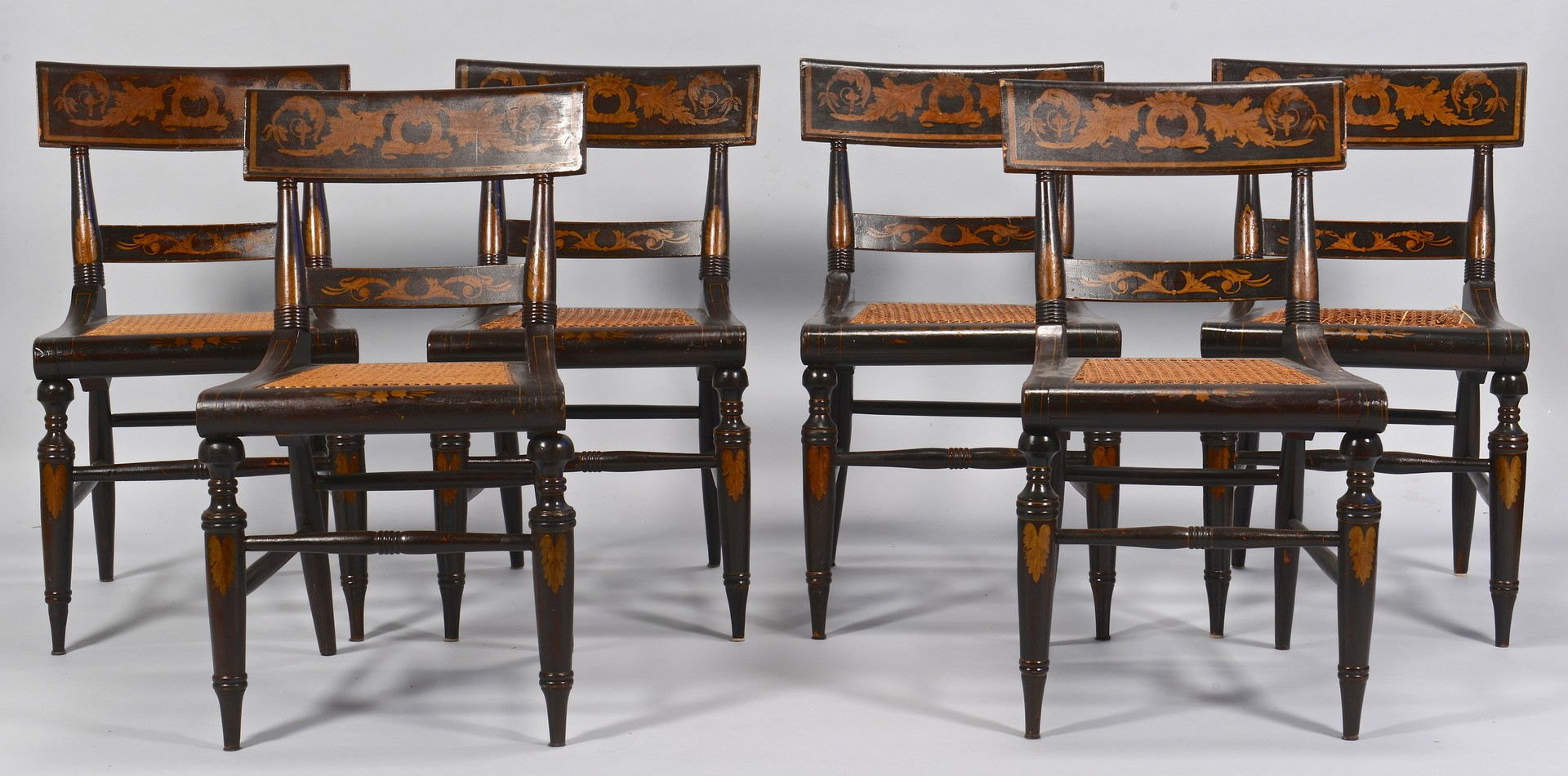 Lot 104: Set of 6 Baltimore Classical Painted Chairs
