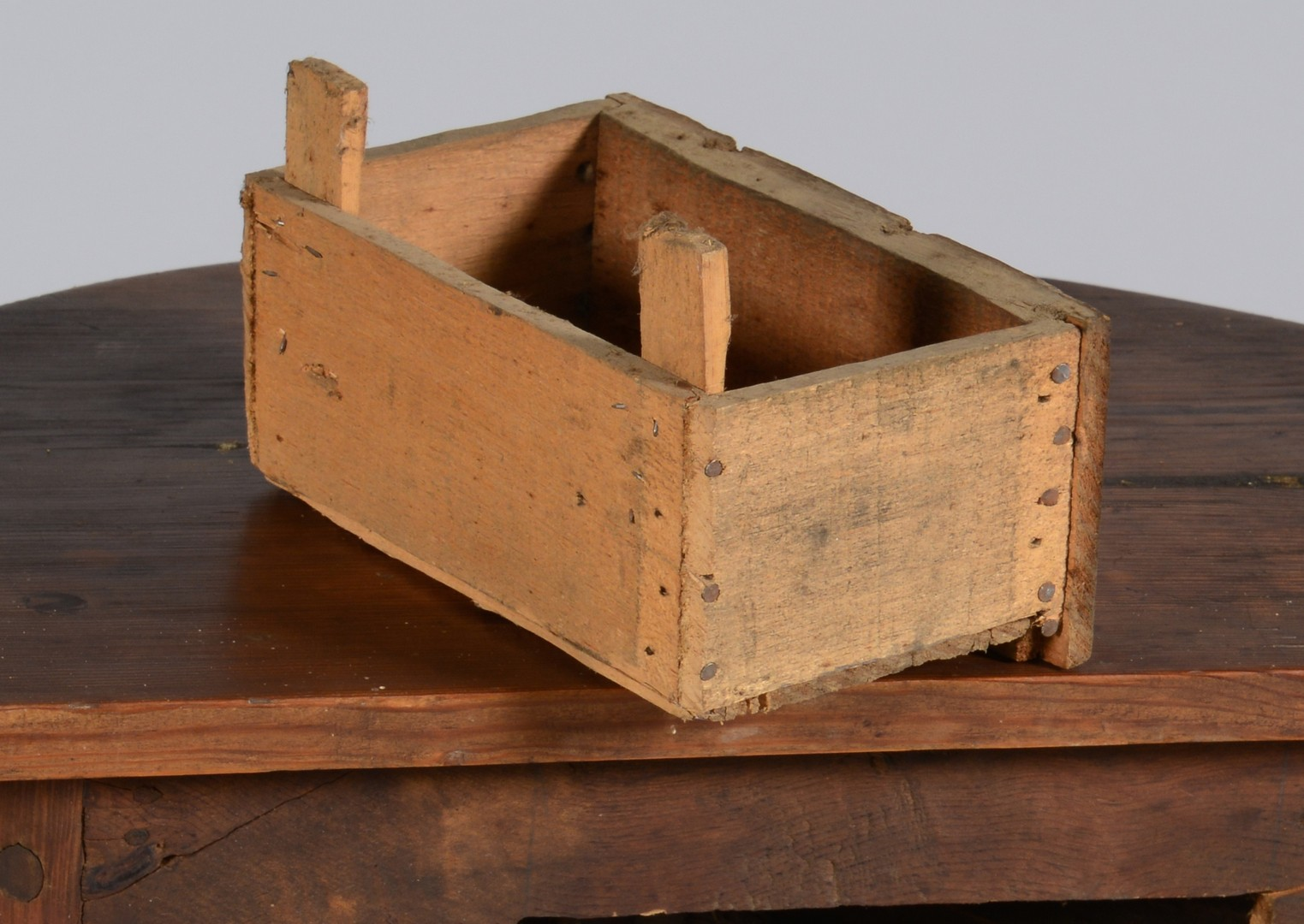 Lot 108: East TN Half Round Table & Dovetailed Box, Yellow