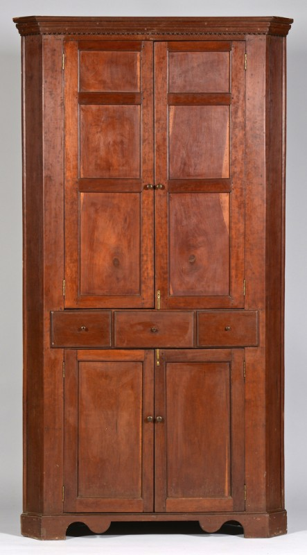 Lot 112: East TN Corner Cupboard, Circa 1820