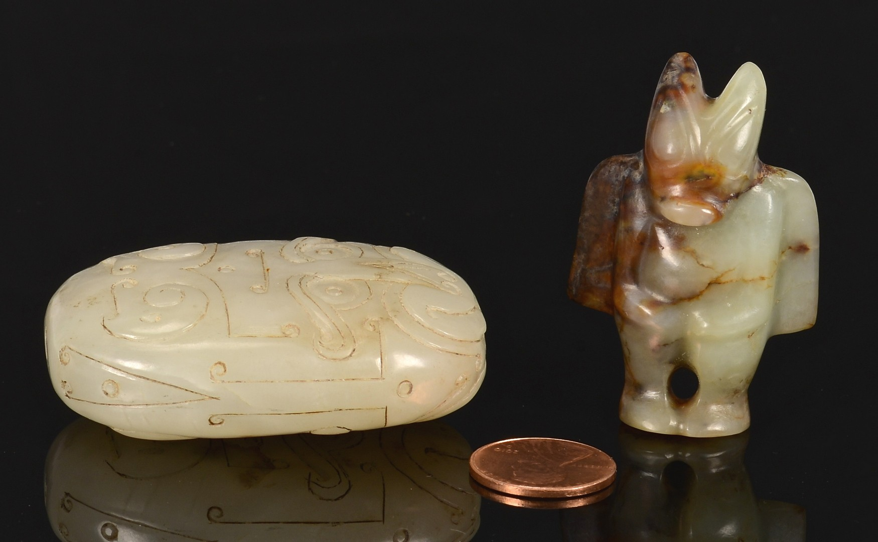 Lot 11: Chinese Jade Pendant, Figure and Toggle