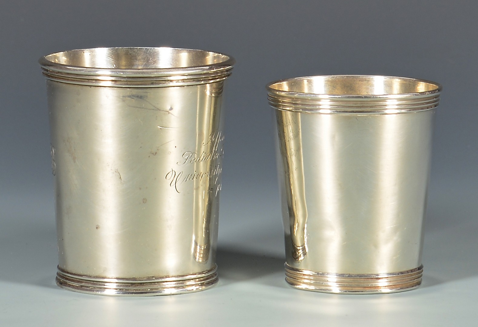 Lot 127: 2 Merriman TN Coin Silver Julep Cups