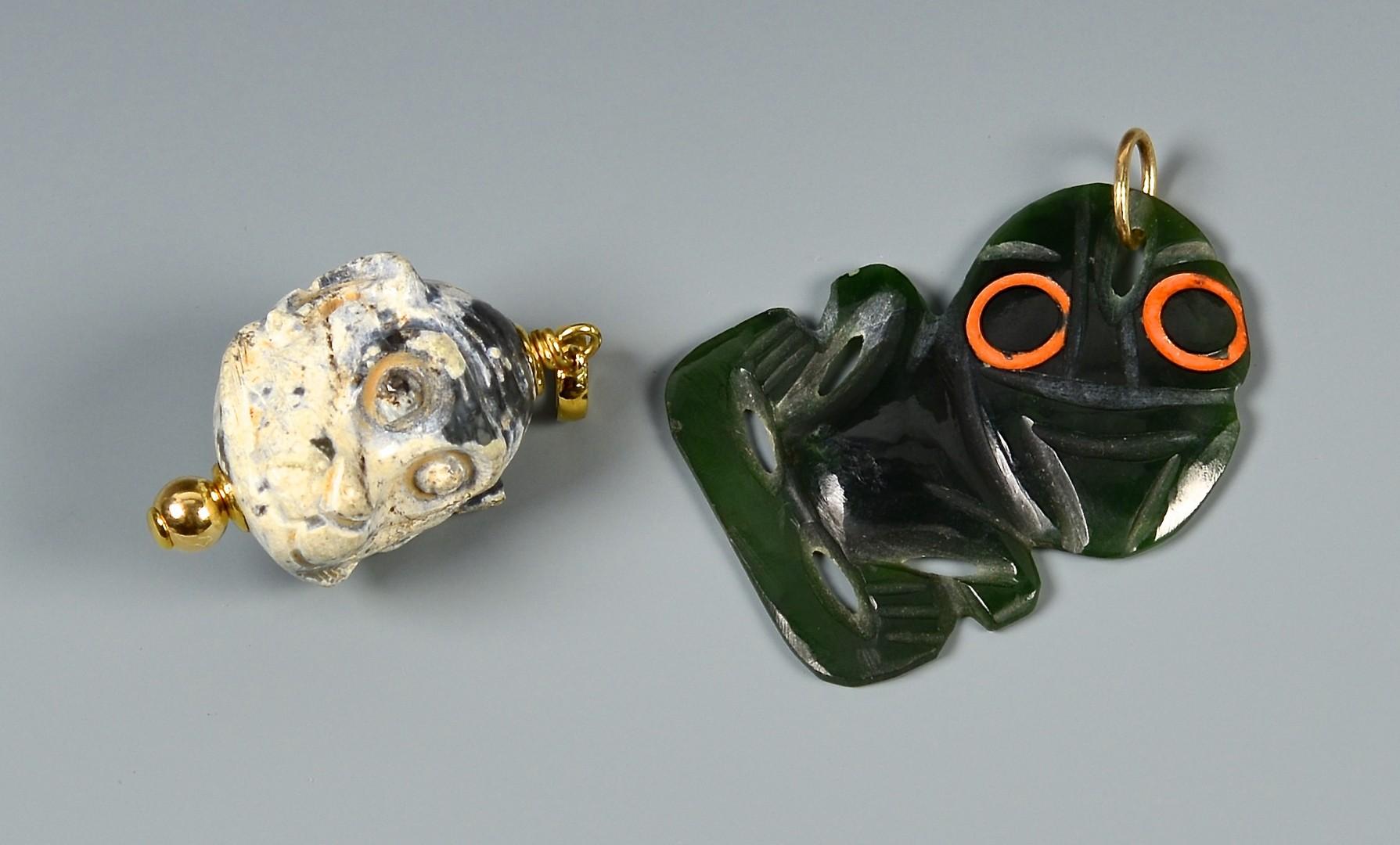 Lot 12: 2 Carved Jade Figural Pendants w/ gold
