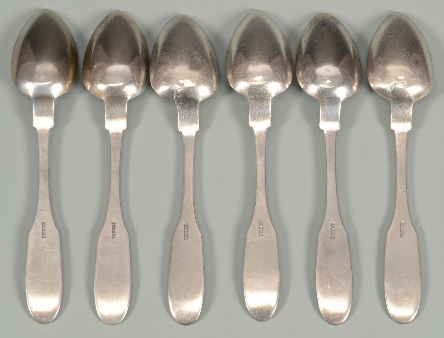 Lot 131: 6 Samuel Bell Coin Silver Spoons, TN