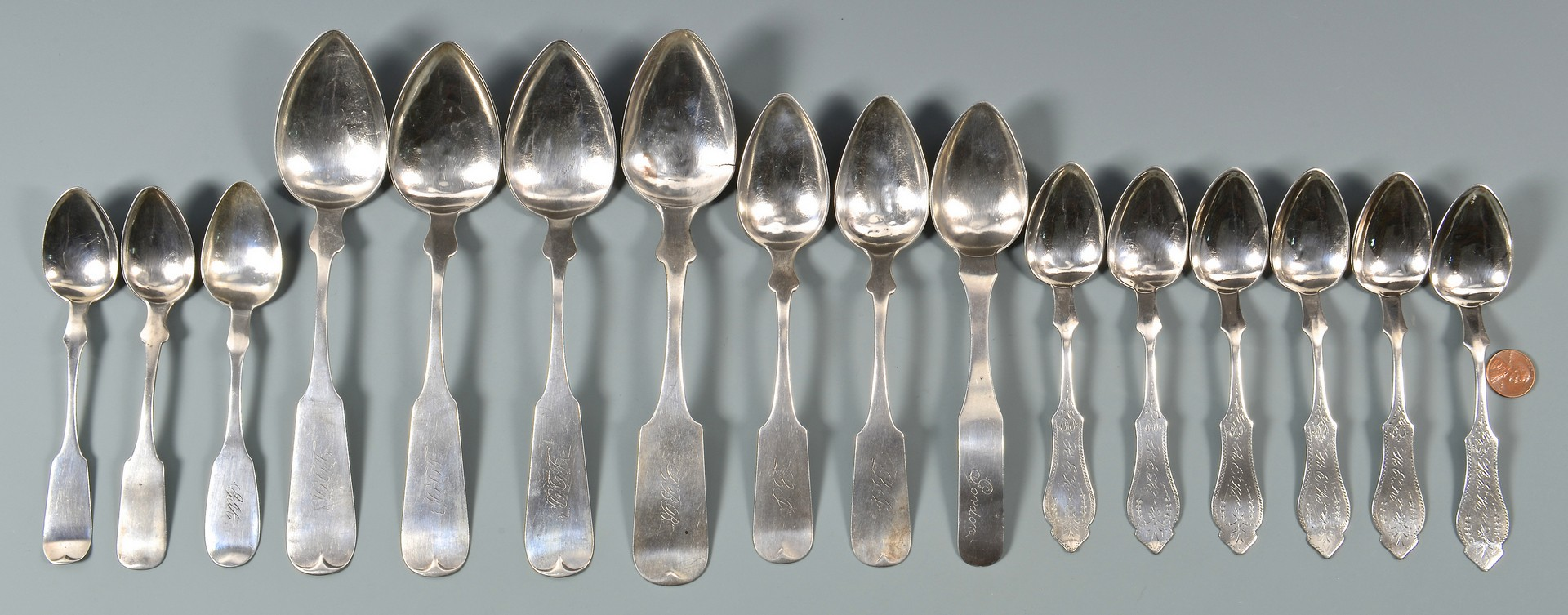 Lot 135: 16 Nashville Coin Silver Spoons