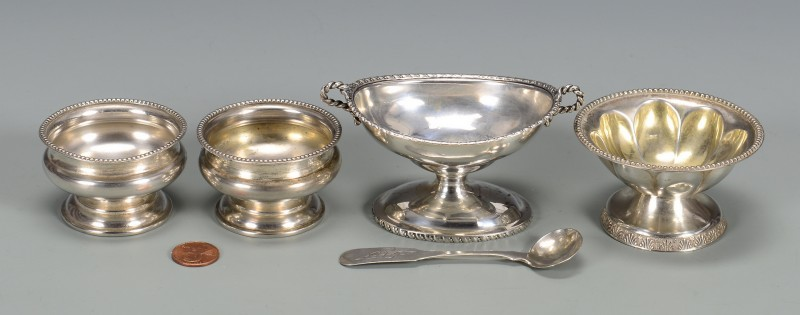 Lot 138: TN Coin Silver Salt Cellars & Spoon