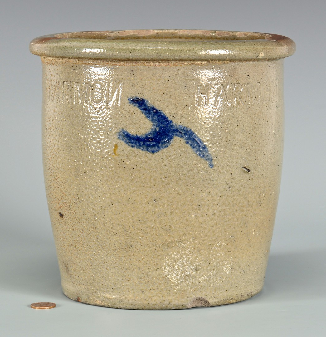 Lot 144: East TN M. P. Harmon Stoneware Jar, Cobalt Decor.