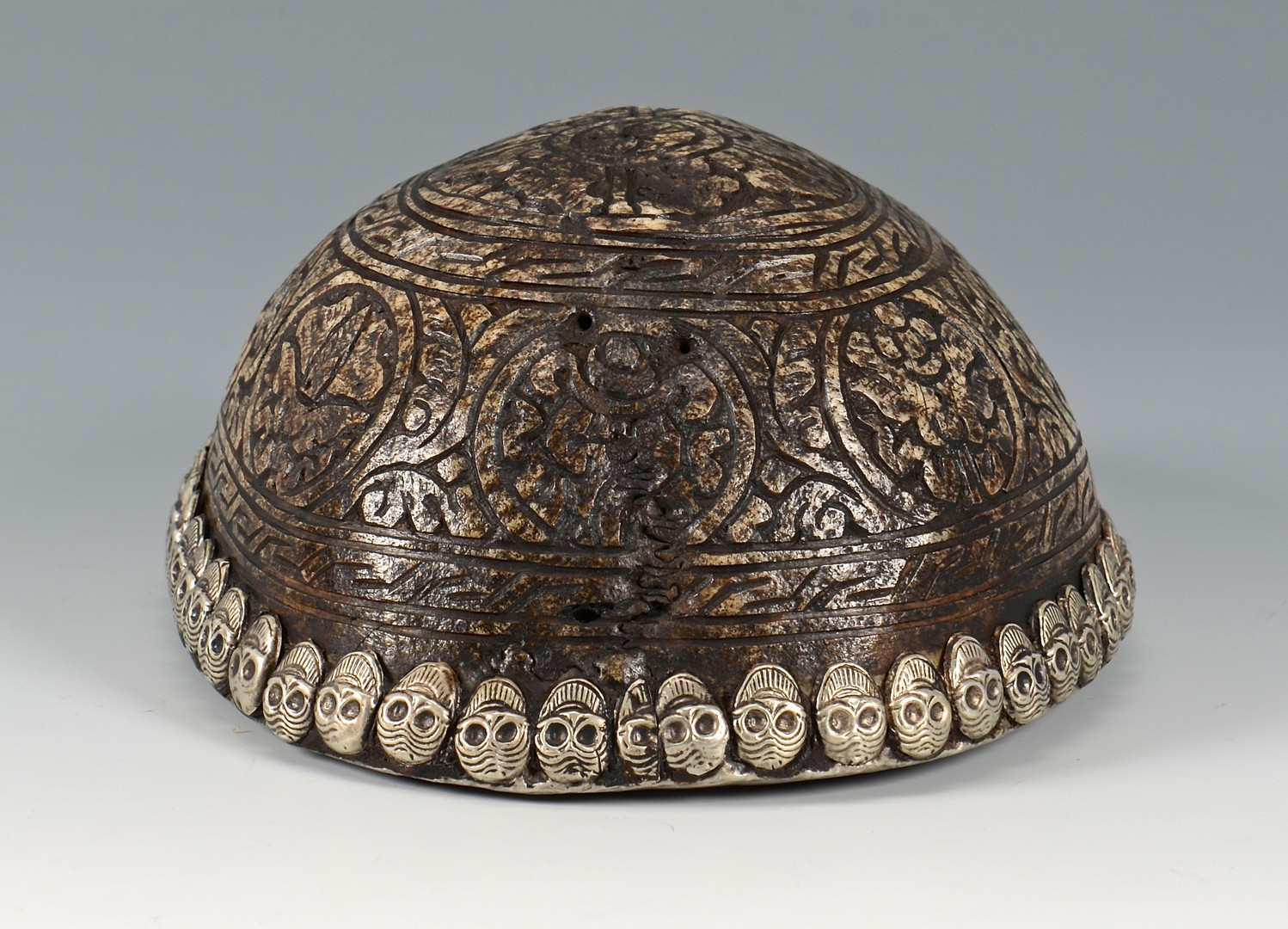 Lot 14: Tibetan Silver Mounted Skull Bowl