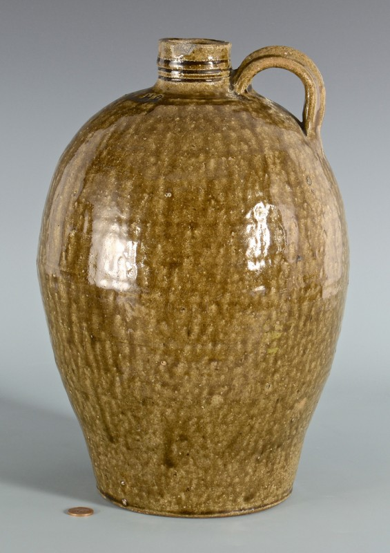 Lot 154: Lincoln County NC Alkaline Jug, marked H. R.