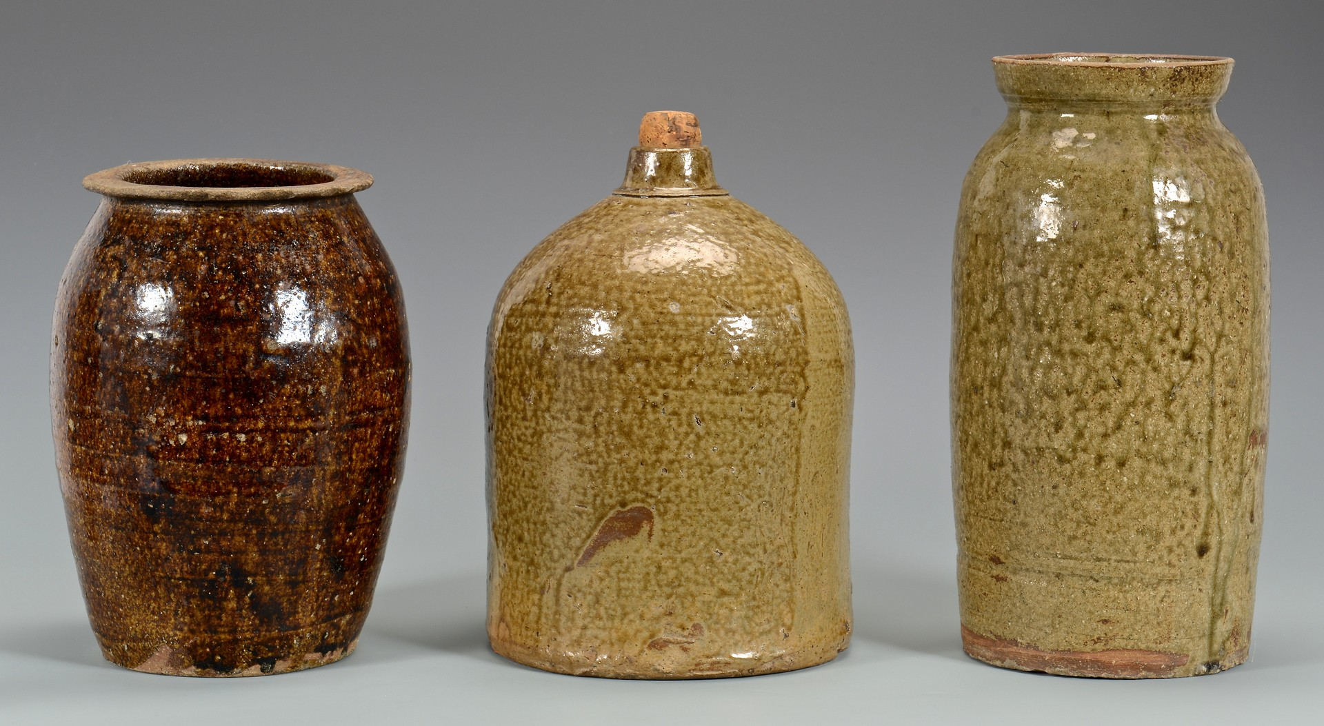 Lot 156: 3 Southern Alkaline Glazed Pottery Forms, NC & Oth