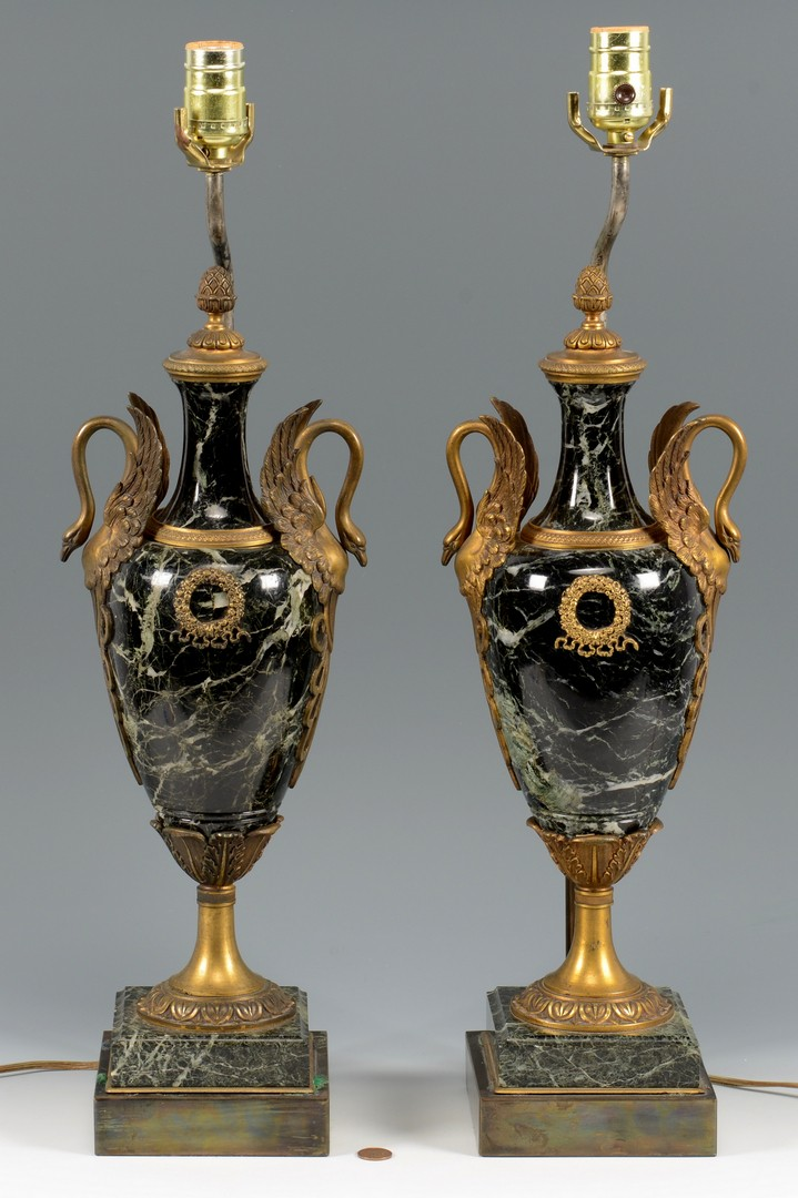 Lot 159: Pr French Style Marble & Bronze Lamps