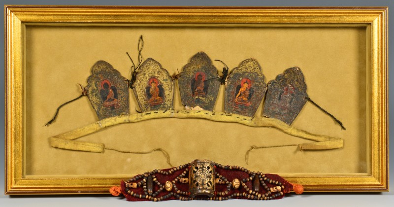 Lot 15: Tibetan Buddhist Crown Ringga & Tibetan Bone Brace