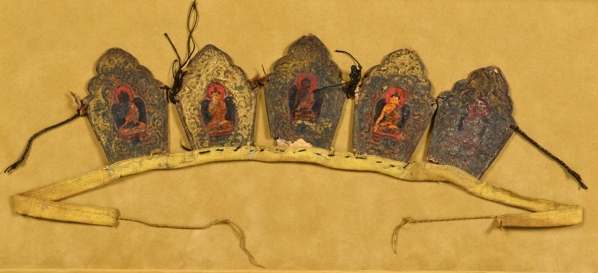 Lot 15: Tibetan Buddhist Crown Ringga & Tibetan Bone Brace