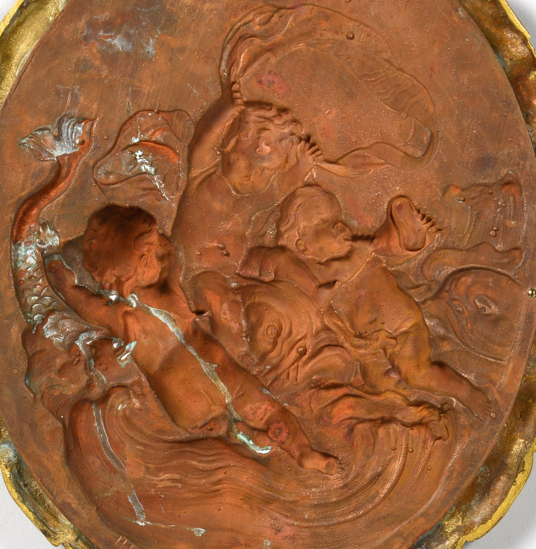 Lot 160: Bronze framed copper plaque