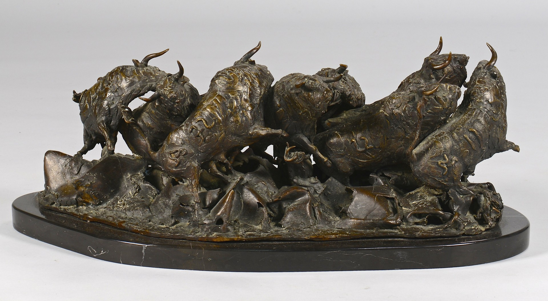 Lot 164: Heriberto Juarez Bronze Sculpture, Bulls