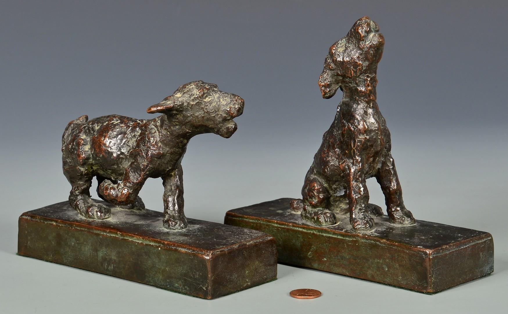Lot 166: Edith Parsons Pair Bronze Terrier Pups