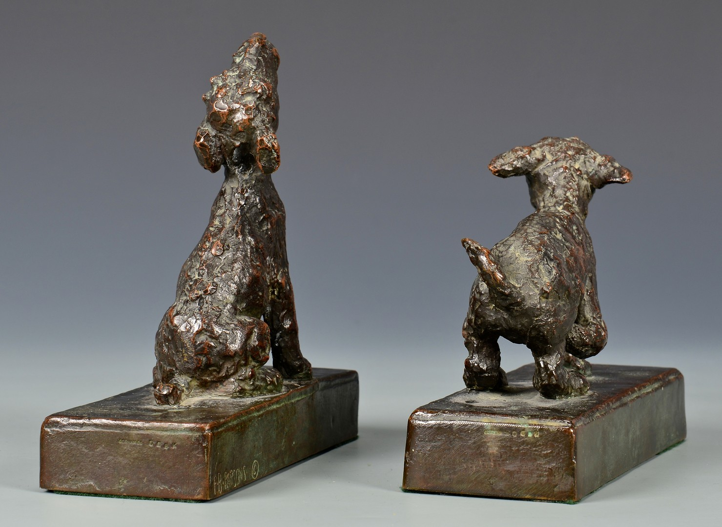 Lot 166: Edith Parsons Pair Bronze Terrier Pups