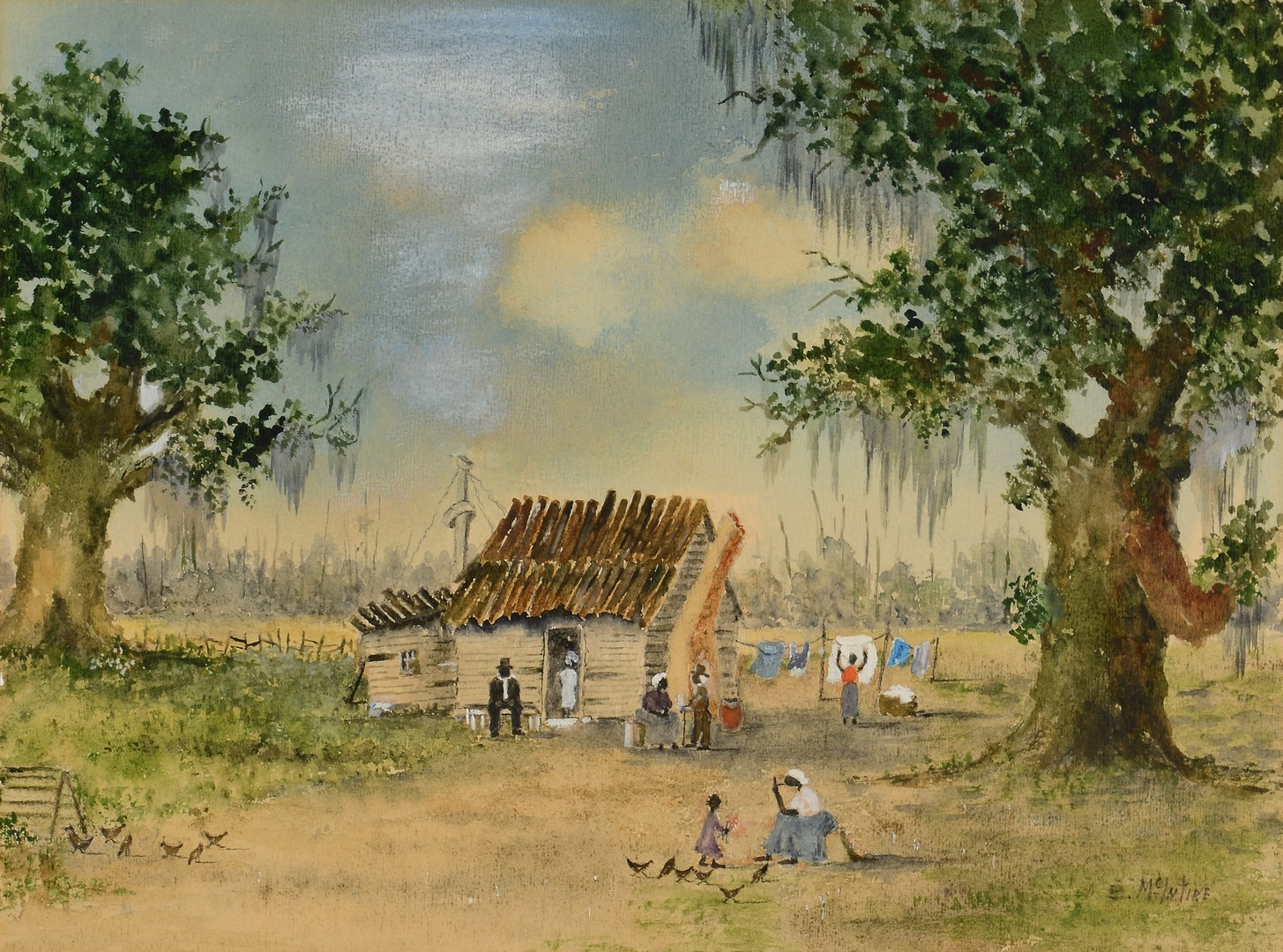 Lot 175: 2 Watercolors of African-American Homesteads, incl