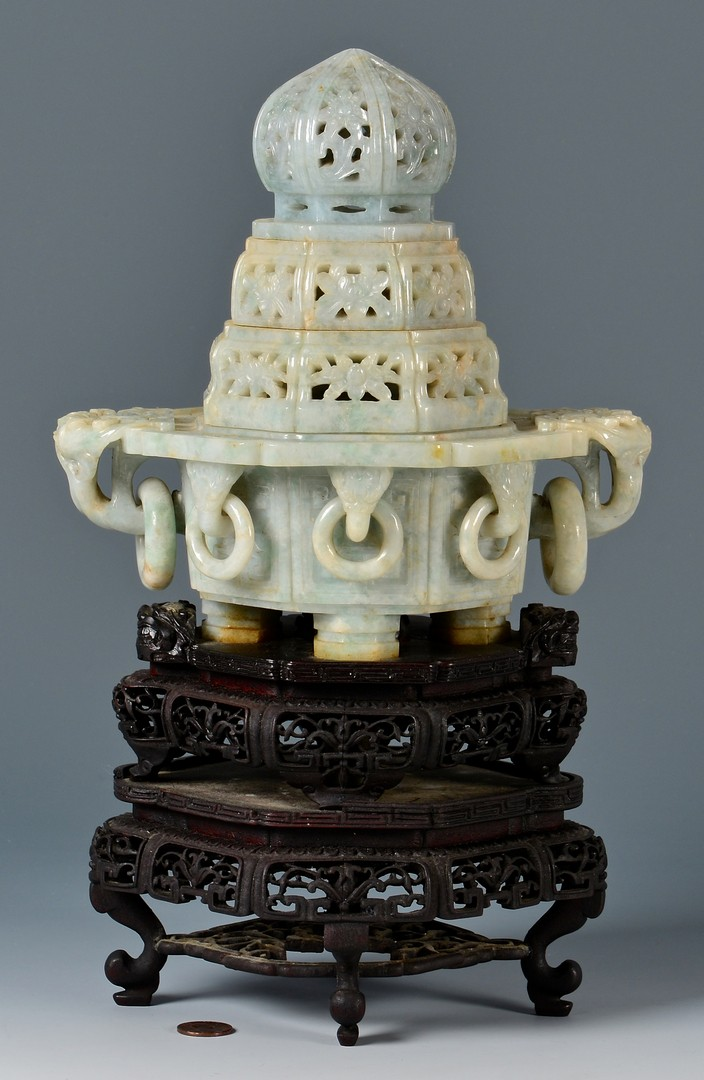 Lot 17: Chinese Carved Jade Censer Lamp