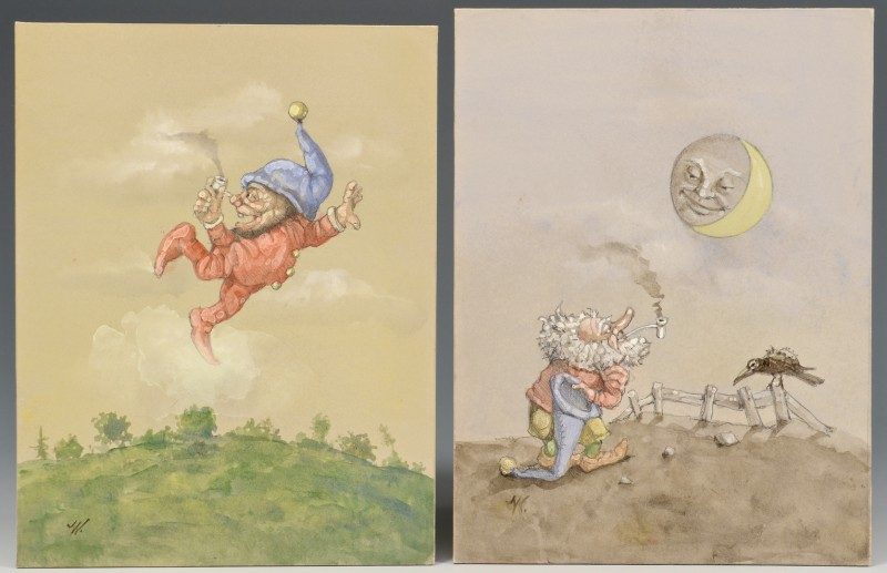 Lot 183: 2 Werner Wildner Gnomes, unframed