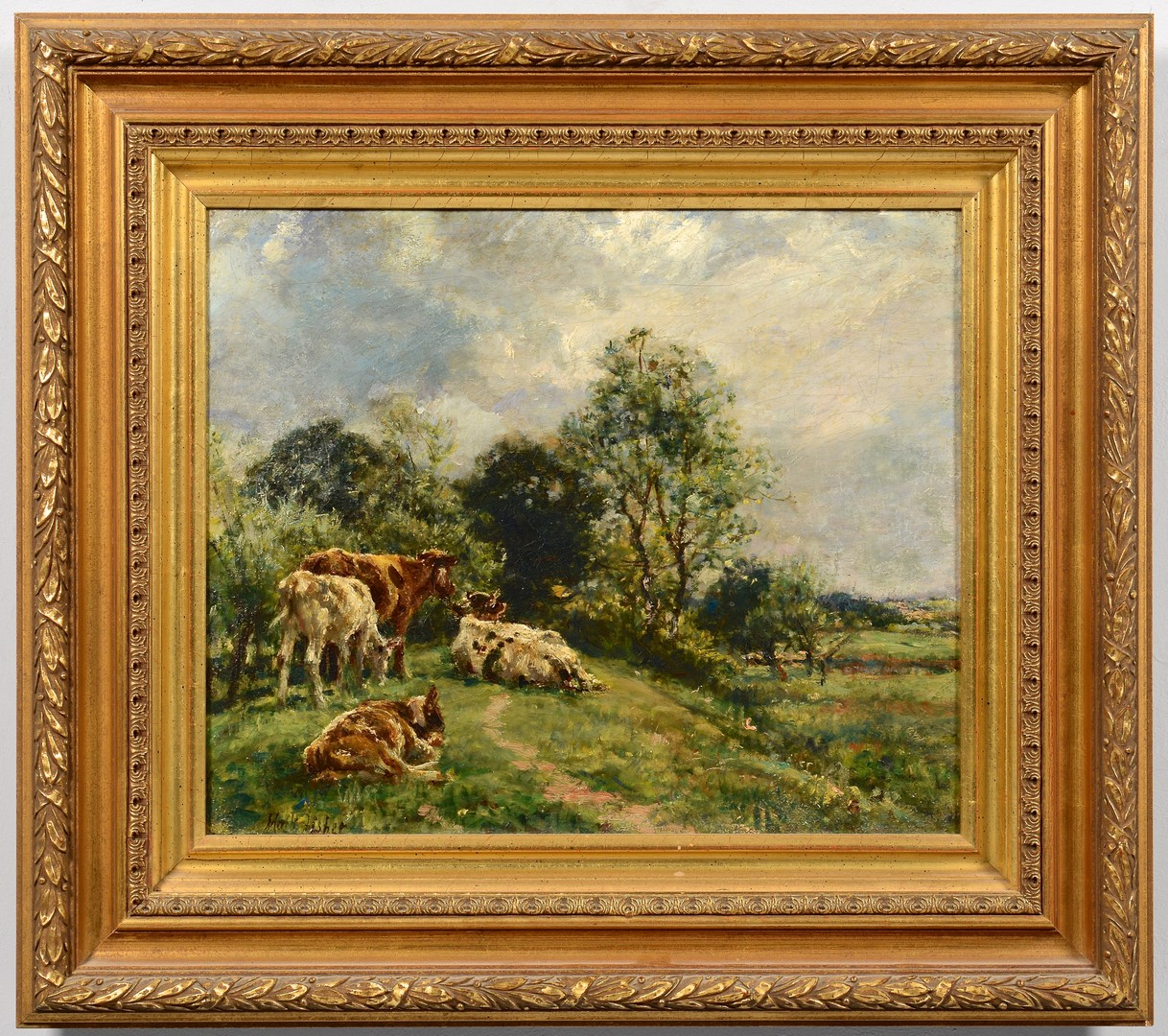 Lot 191: Mark Fisher Oil on Canvas Landscape w/ Cows
