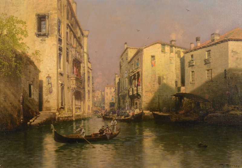 Lot 193: Hermann Herzog Venetian Oil on Canvas