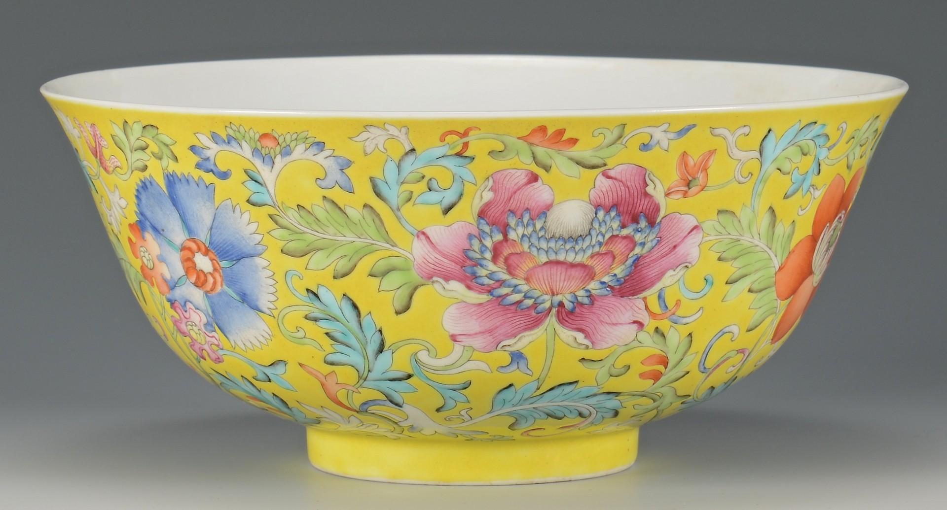 Lot 19: Pr. Guangxu Chinese Famille Rose Bowls, yellow gro