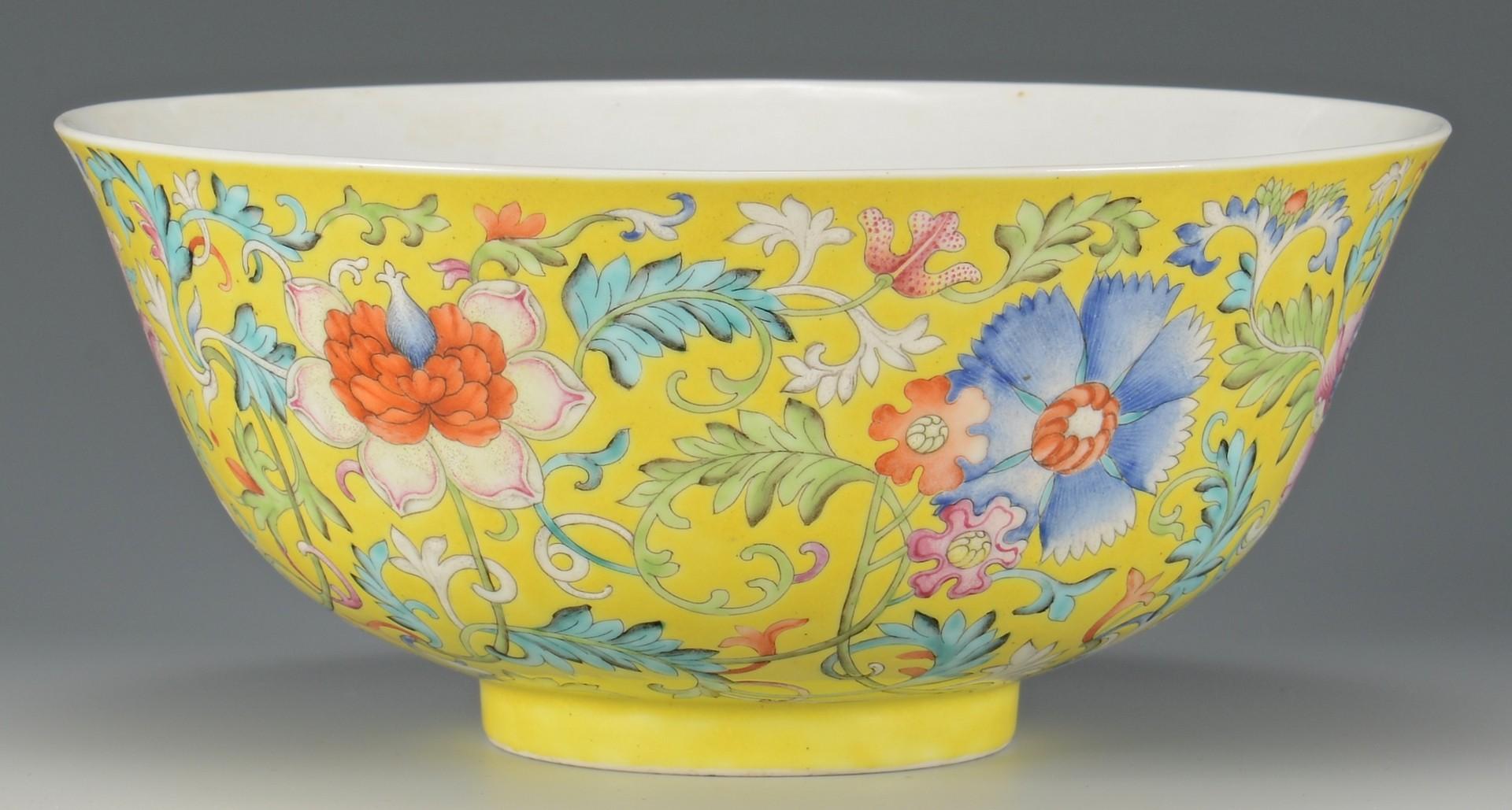 Lot 19: Pr. Guangxu Chinese Famille Rose Bowls, yellow ground