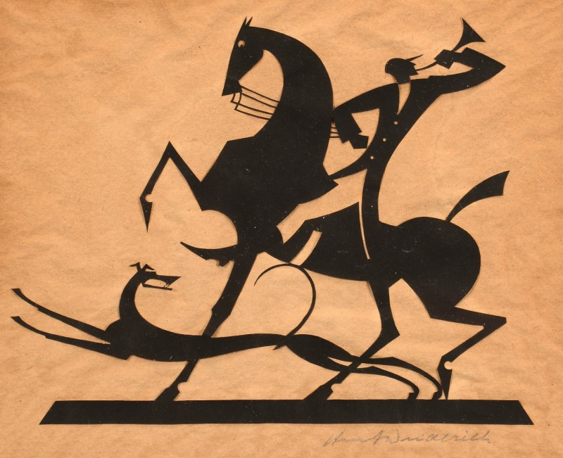 Lot 200: W. Hunt Diederich Silhouette, Hunter & Greyhound