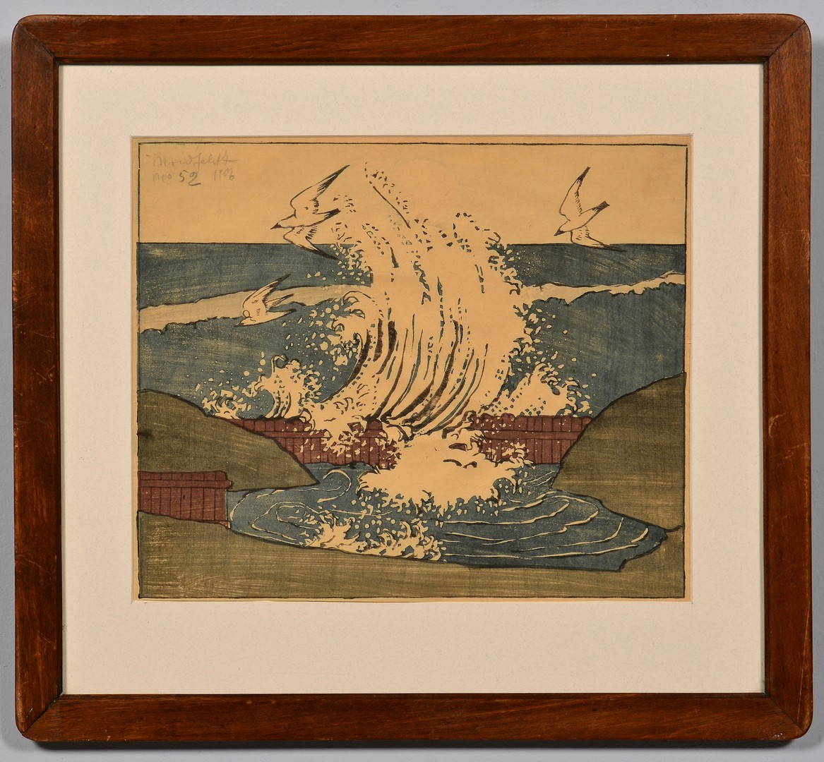 Lot 202: Bror Nordfeldt Colored Woodcut, The Wave, Moonrise