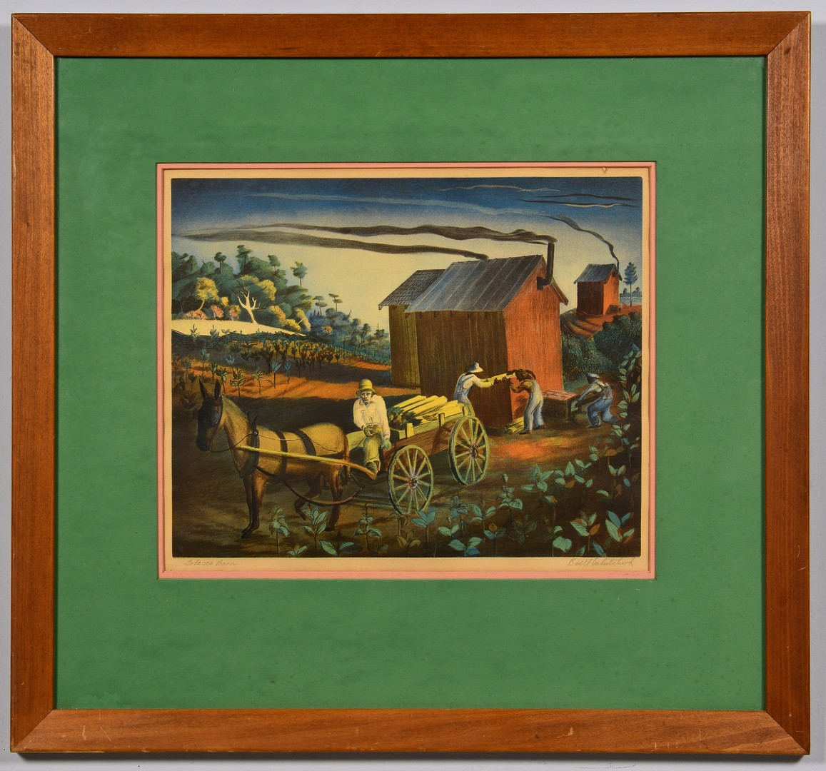 "Lot 206: Buell Whitehead Lithograph ""Tobacco Barn"""