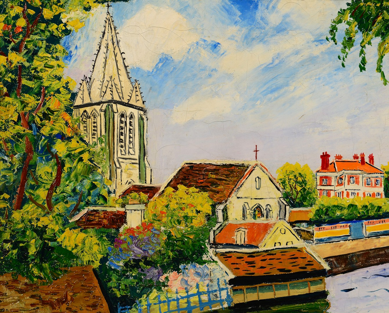 Lot 208: Elisee Maclet o/c, Canal Scene