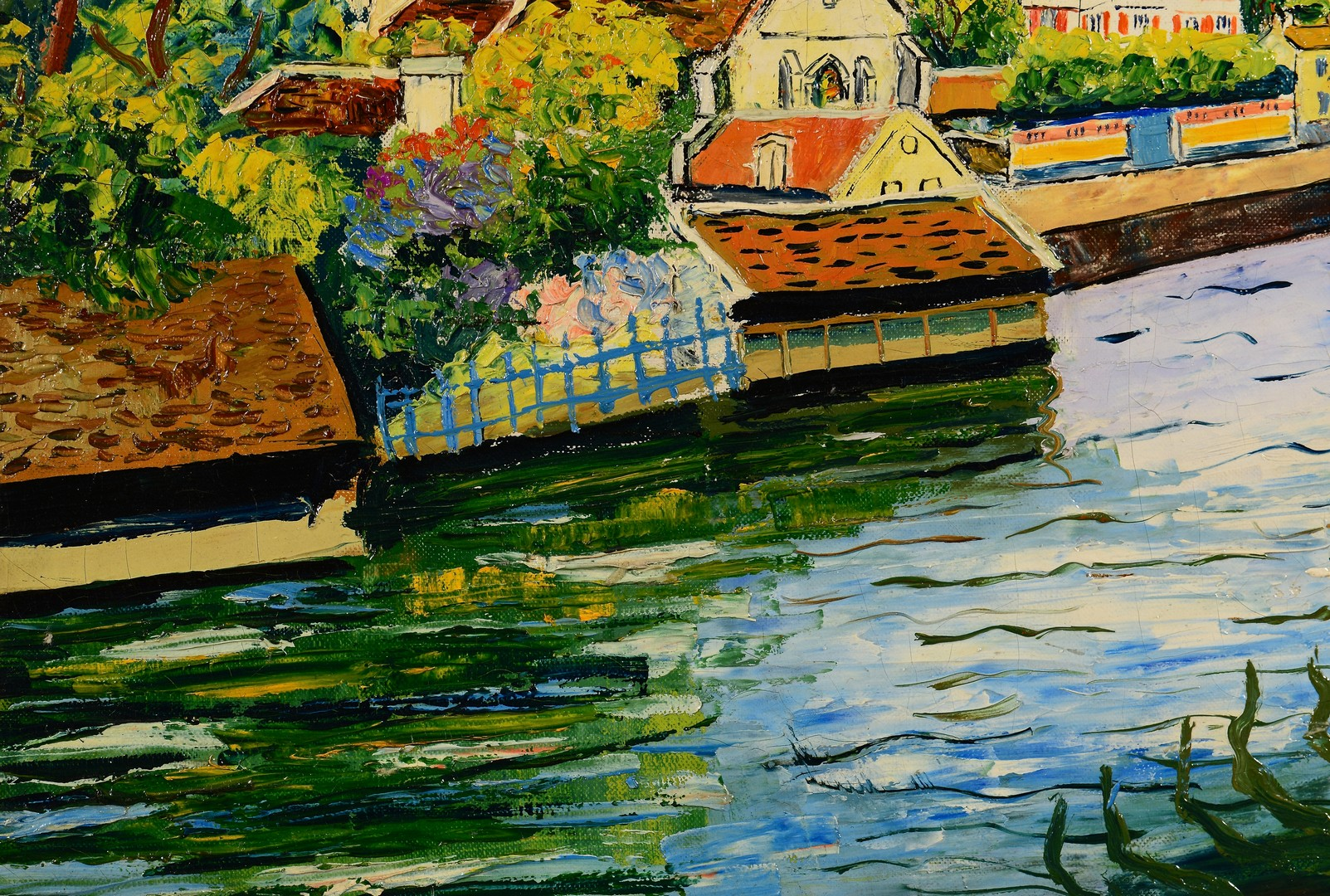 Lot 208: Elisee Maclet o/c, Canal Scene