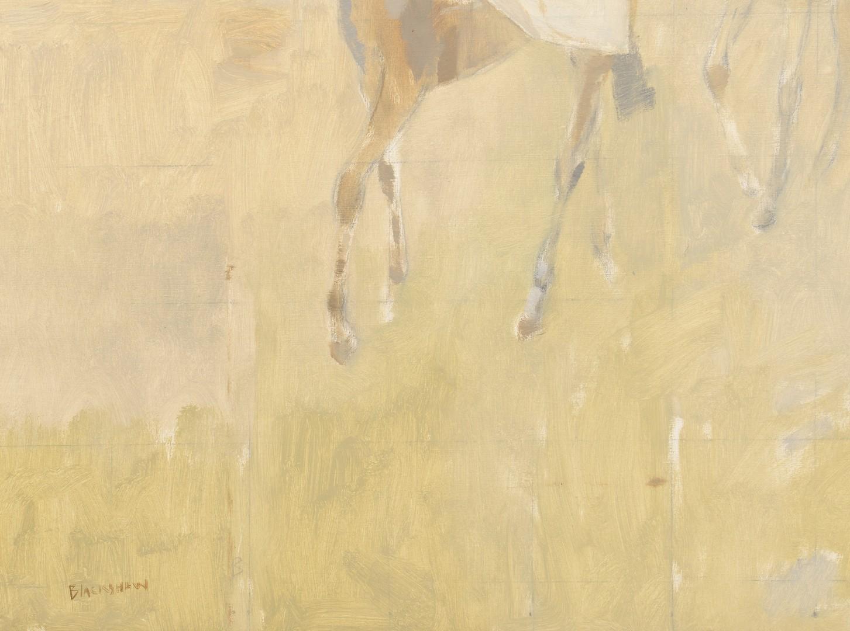 Lot 209: Basil Blackshaw oil on canvas, 3 Riders
