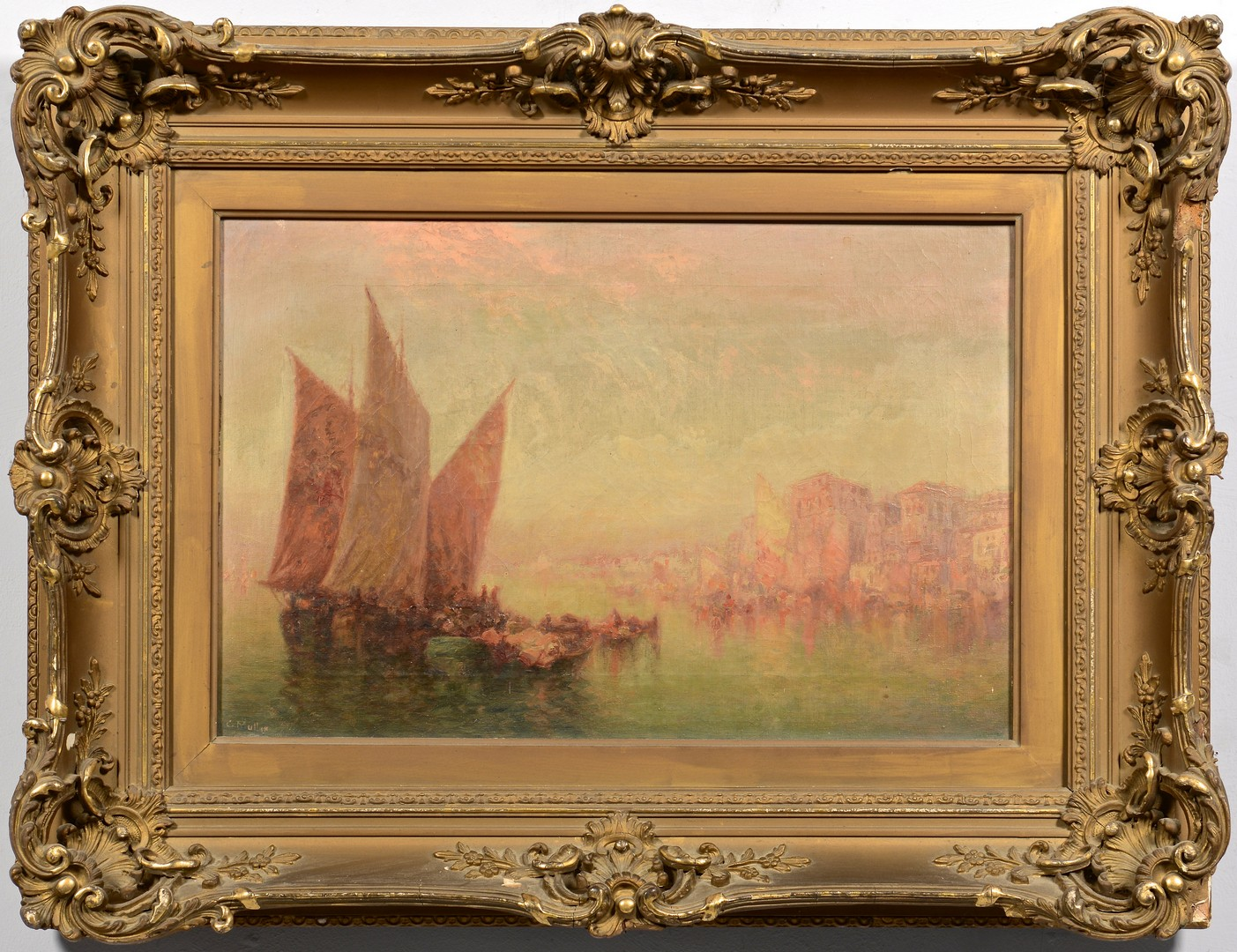 Lot 212: C. Muller Oil Marine Harbor Scene