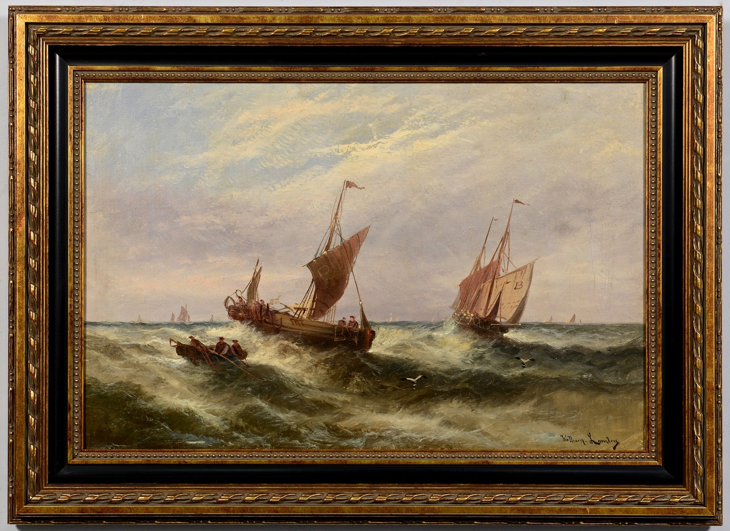 Lot 215: William Langley Seascape, Ships at Sea