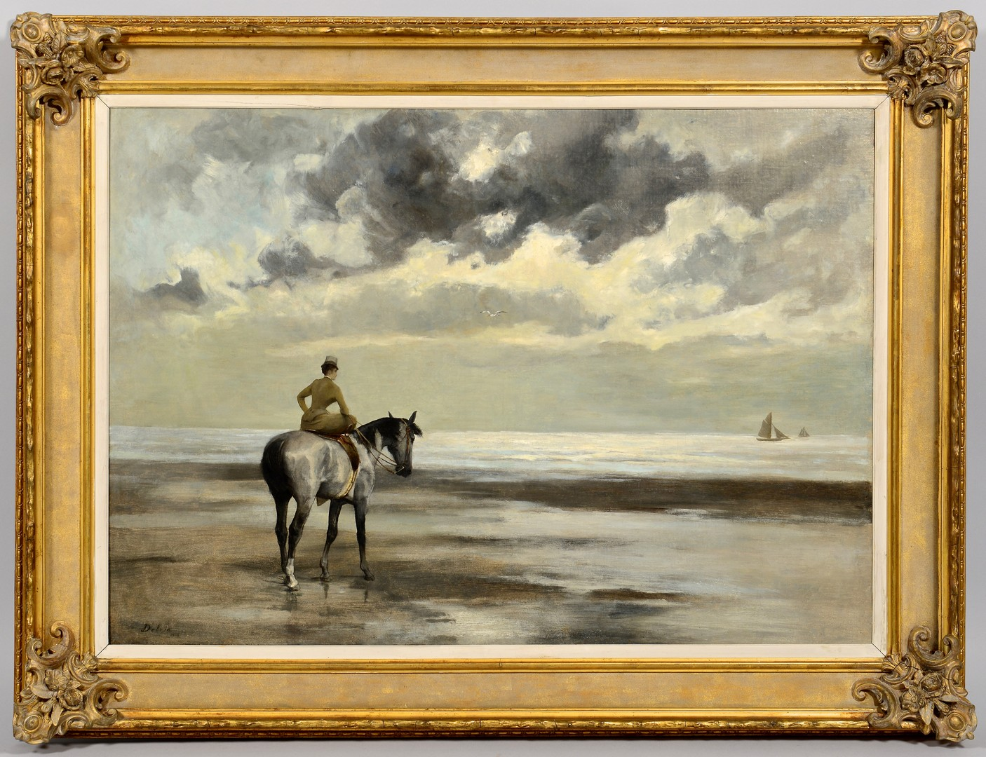 Lot 216: Jean Joseph Delvin Oil on Canvas Seascape