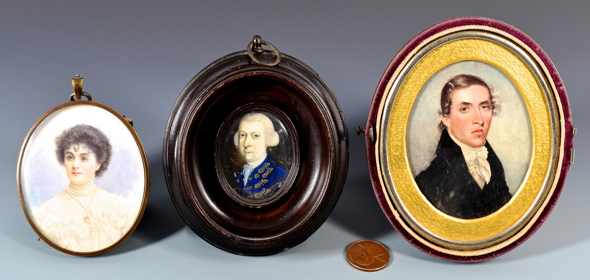 Lot 225: 3 miniature portraits