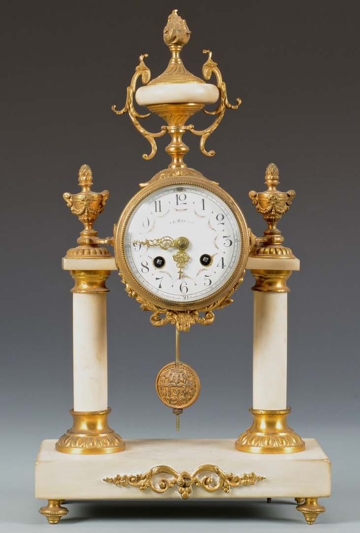 Lot 227: French Portico Clock and Garniture