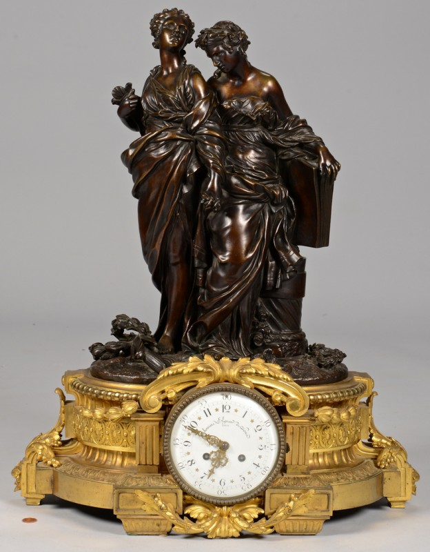 Lot 229: Large French Bronze Figural Clock, Deniere A Paris
